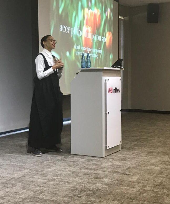 Sizakele Marutlulle speaking at ABInBev